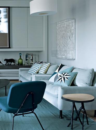 这个夏天最清新的家-巴黎孔雀蓝现代公寓