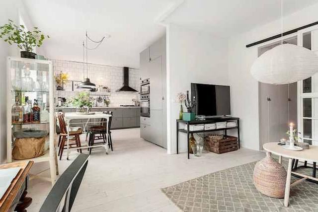 50平米灰色、绿植搭配的北欧公寓