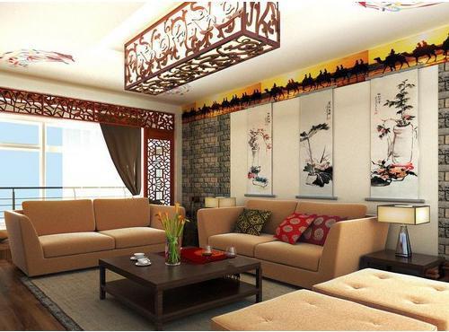 中式沙发背景墙效果图欣赏