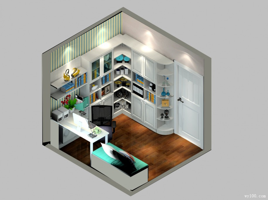 6�O小户型书房效果图 超大扩容转角位尽利用
