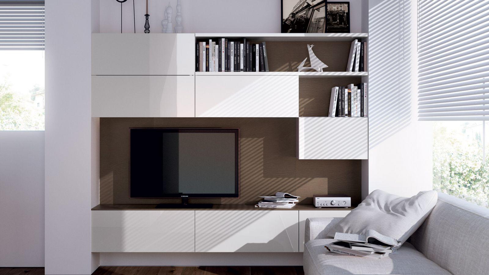 客厅装修中的视觉焦点  电视墙设计的柜体款式
