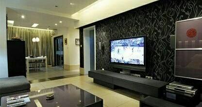 客厅暗色调电视墙