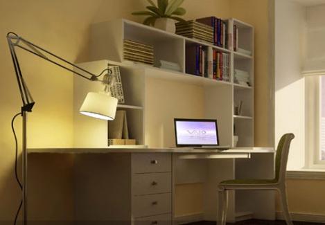 电脑桌带书架