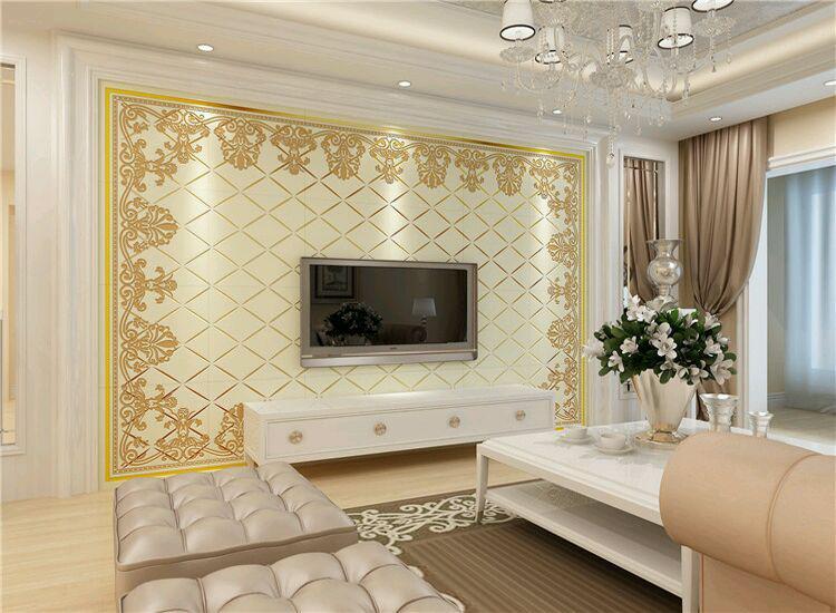客厅电视机背景墙现代简欧效果图