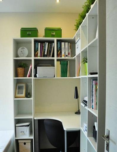 超实用的转角书柜电脑桌效果图