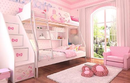 公主儿童床双层床的效果图