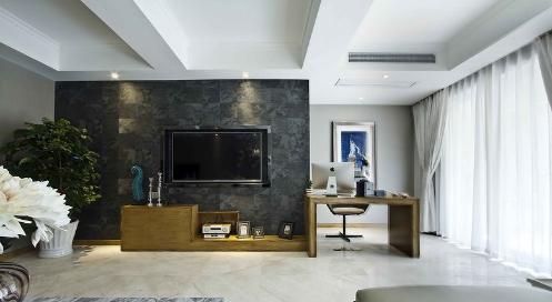 黑色大理石材質做客廳電視背景墻非常少見