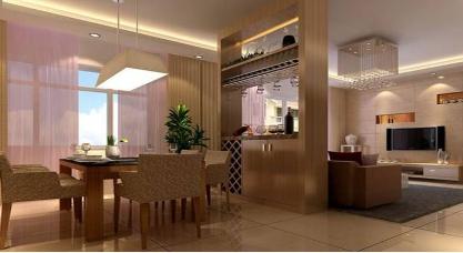 餐厅与客厅酒柜隔断效果图中的巧妙设计