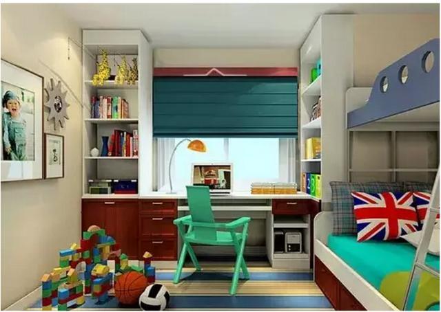 书房 儿童小书房效果图  儿童小书房效果图:孩子的书房 家具颜色较重图片