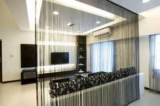 客厅玄关珠帘隔断装修效果图高清图片
