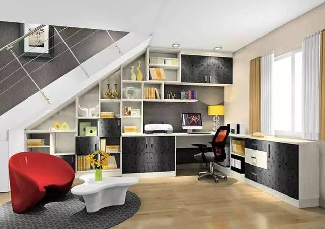 简欧风格书房装修效果图 书房书柜多功能组合完爆!