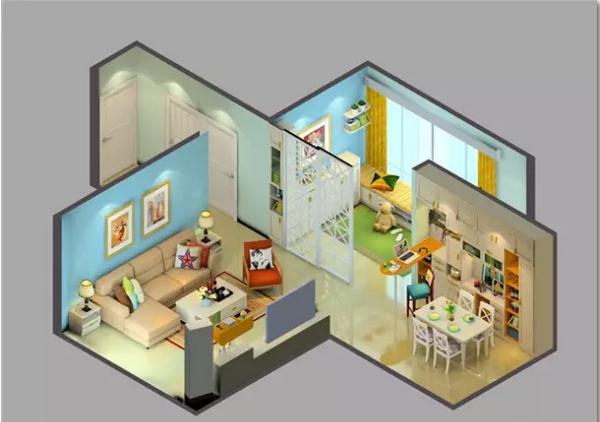 从3D效果图看客餐厅布置新潮流