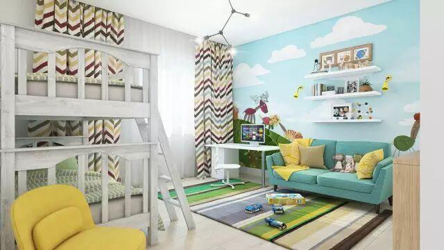 宝妈们都爱看的~儿童房墙面装修效果图~