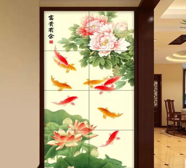 影视墙背景墙九鱼图玄关画系列