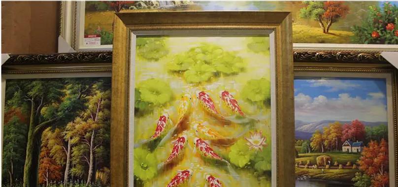 玄关九鱼图油画