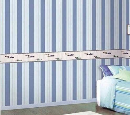 儿童房条纹壁纸搭配 给孩子一个梦幻王国