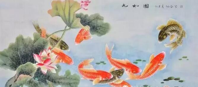 玄关壁画九鱼图等壁画推荐