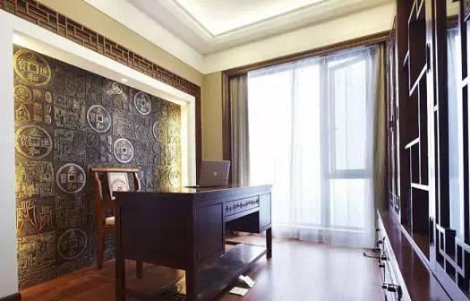优雅古朴的中式书房背景墙设计图