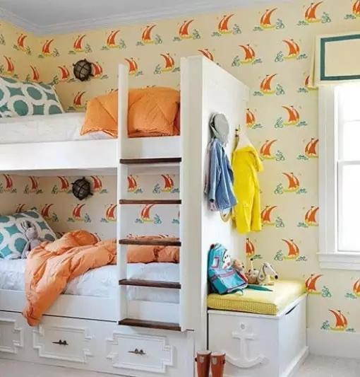 卧室装修 上下铺儿童房效果图
