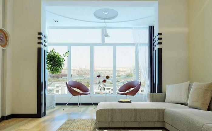 现代简约客厅阳台一体效果图