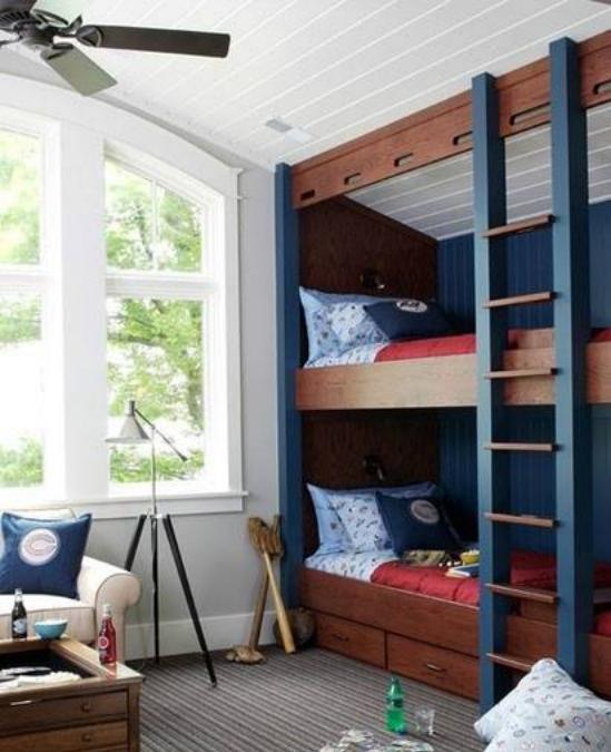 儿童房间上下铺木床 属于孩子玩乐的小天地