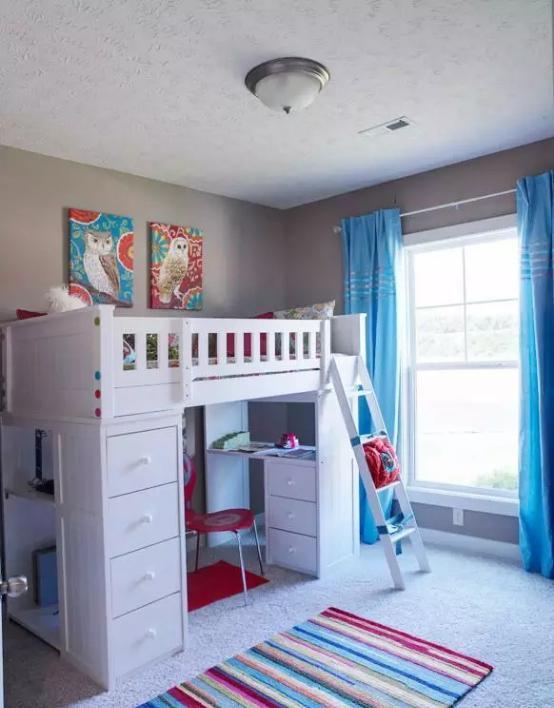 看儿童房设计效果图  教你一个房间放两娃