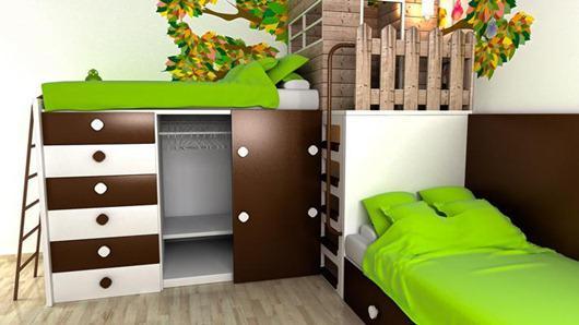 """把""""森林""""搬进儿童房 创意树屋儿童房组合床"""