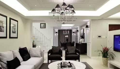 现代简约客厅吊顶装修效果图 超清爽!