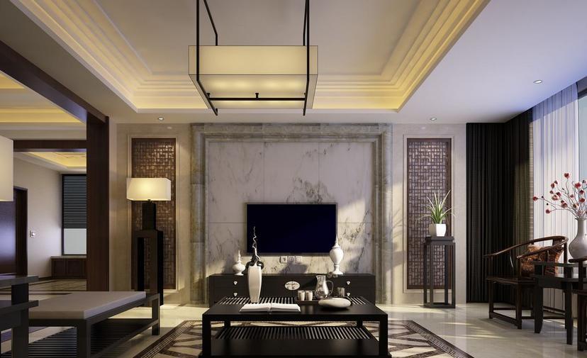 深受青睐的几幅中式客厅电视墙效果图