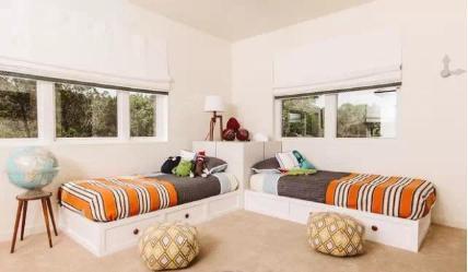 简欧式田园风光儿童房两个床设计