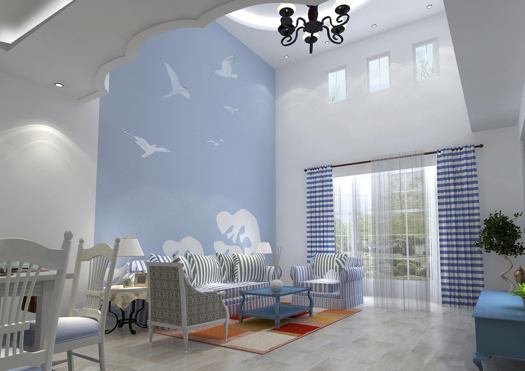 地中海风格客厅装修  给你一个甜蜜的异域港湾