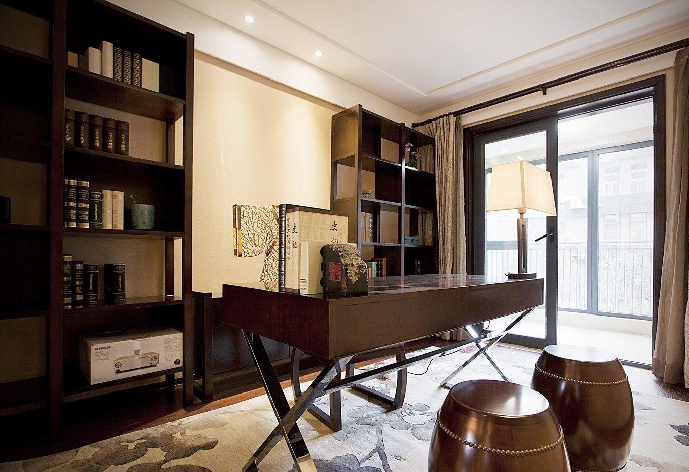 书房兼卧室效果图推荐,中式风情雅致设计
