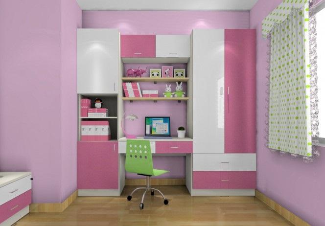 儿童房书柜衣柜组合效果图,缺一不可!