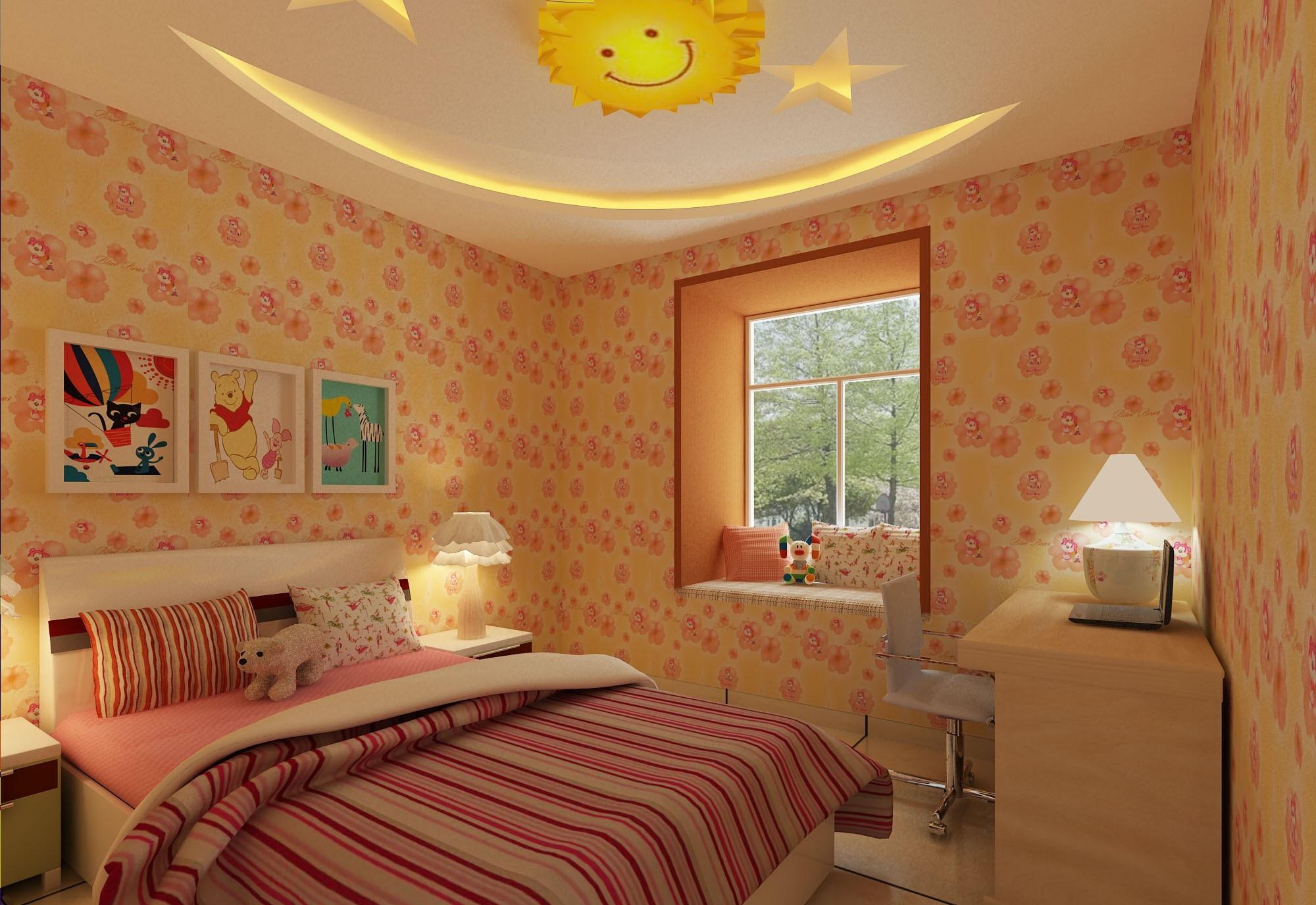 可爱女孩公主房,简欧儿童房效果图赏析