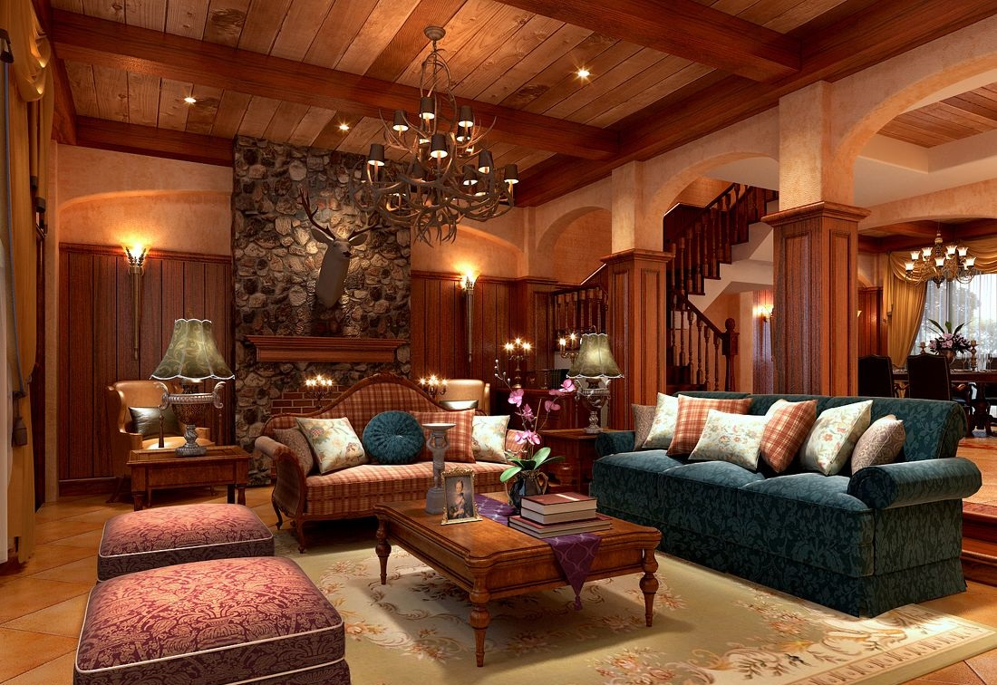 美式客厅吊顶装修要点有哪些呢高清图片