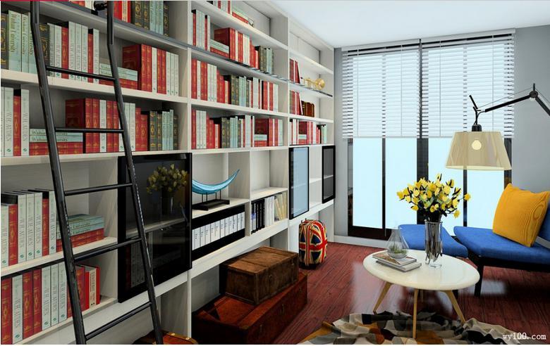 简约时尚的书房书柜设计