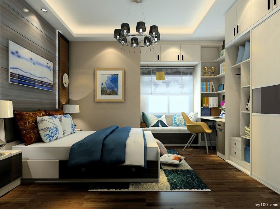 白色嵌入式到顶平开门衣柜轻松解决衣物收纳需求,床尾的组合电视柜集梳妆台、收纳柜于一体。白色家具营造了一个恬淡柔和的居室空间。 嵌入式衣柜覆盖整面墙,内部容量不容小觑。靠近床头的位置还延伸出书桌书柜,功能多样。嵌入墙体设计,很好的释放了卧室空间。精致小巧的床头柜,具有收纳和装饰功能。