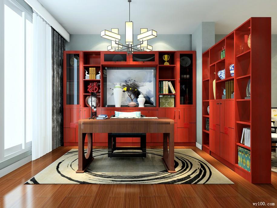 中式定制书柜,古色古香