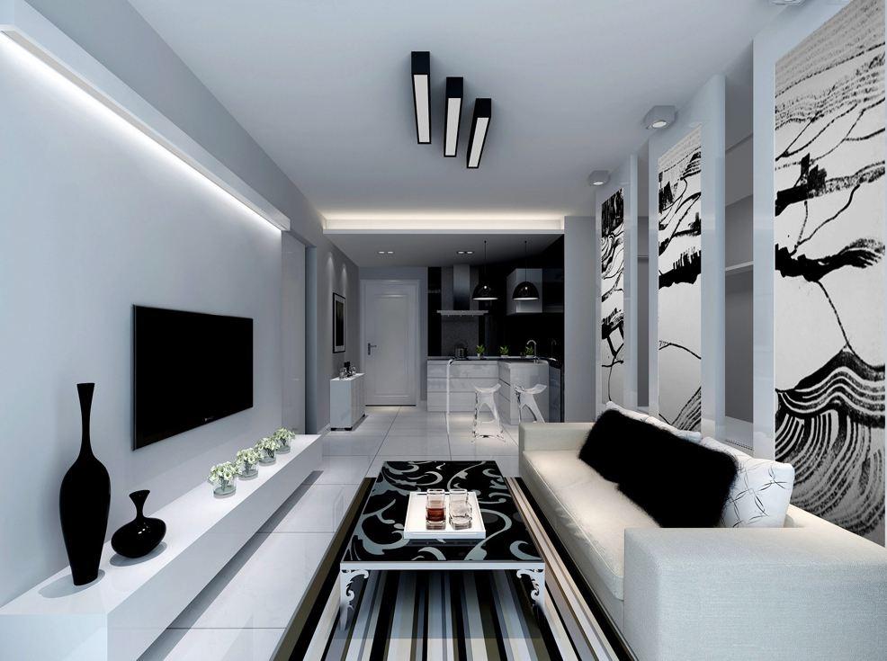 客厅装修黑白色--维意定制网上商城