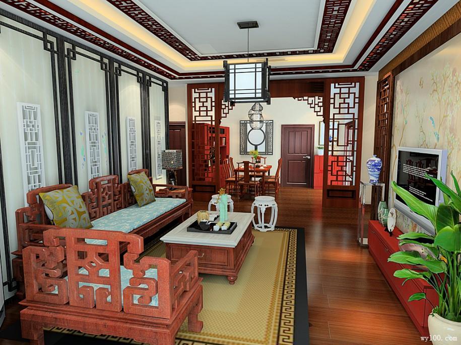 中式客厅家具颜色搭配案例