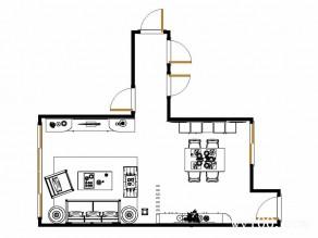 客餐厅一体效果图 30�O极富通透感_维意定制家具商城