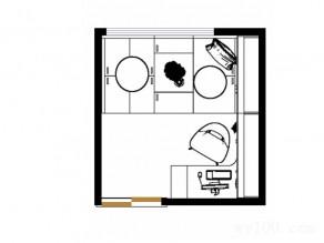 温馨简约书房效果图 7平米黄色系_维意定制家具商城