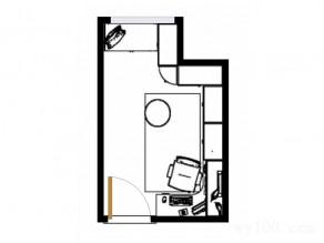 简约现代书房效果图 5平素雅包柱_维意定制家具商城