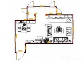 欧式客餐厅效果图 餐边柜高低错落设计整体感觉舒畅_维意定制家具商城