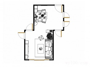 客餐厅装修效果图 21�O连接转角柜_维意定制家具商城