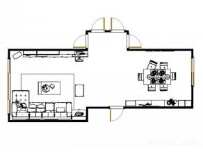 简洁实用搭配客餐厅效果图_维意定制家具商城