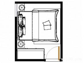 胡桃木卧室效果图 7�O浅色的皮纹搭配_维意定制家具商城