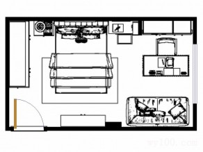 带办公桌卧室效果图 20�O加以亮色的饰品点缀_维意定制家具商城