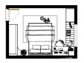 小户型吊顶卧室效果图 14�O整体摆放整齐大方_维意定制家具商城