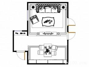 电视柜隔断客餐厅效果图 35平结合吧台成为一个休闲区_维意定制家具商城